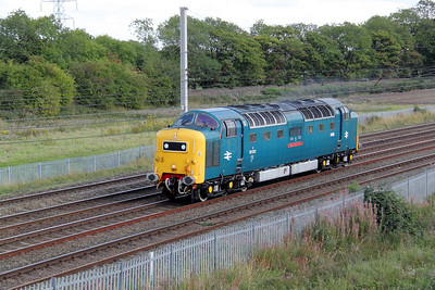 2) 55 022 at Winwick Junction on 4th September 2011 working 0Z76 1500 Crewe DHS to Heywood ELR