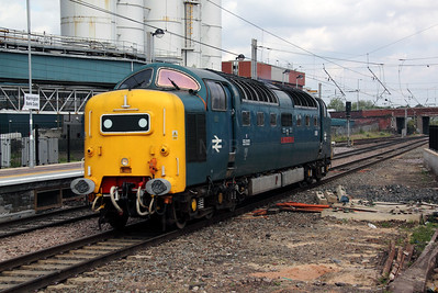 55 022 at Warrington Bank Quay on 14th June 2012 working 0V55 1007 Heywood ELR to Bishop Lydeard WSR