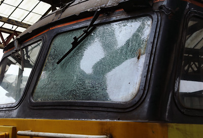 56105 Icicle damaged windscreen at Crewe on 4th March 2018