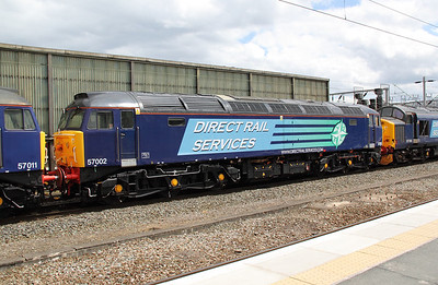 1) 57 002 at Crewe on 9th June 2011 working 0Z41 1030 Barrow Hill to Crewe Gresty Bridge.