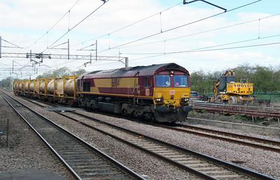 66 184 at Acton Bridge on 19th April 2016 working Runcorn Folly Lane to Warrington Arpley