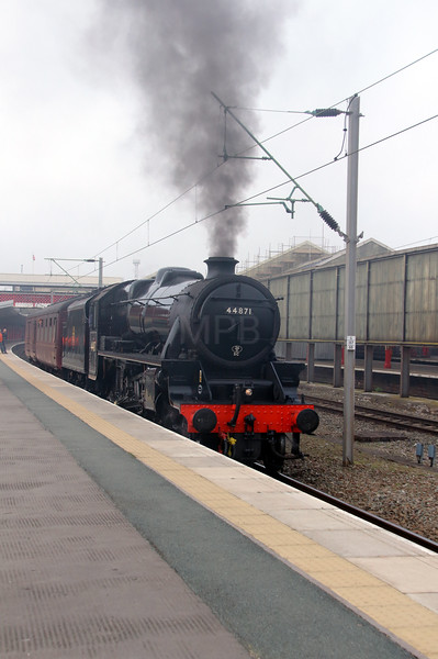 steam, 44871 at Crewe on 14th March 2014