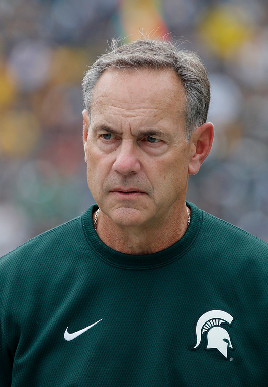 . Michigan State coach Mark Dantonio watches during the second quarter of an NCAA college football game against Michigan, Saturday, Oct. 29, 2016, in East Lansing, Mich. Michigan won 32-23. (AP Photo/Al Goldis)
