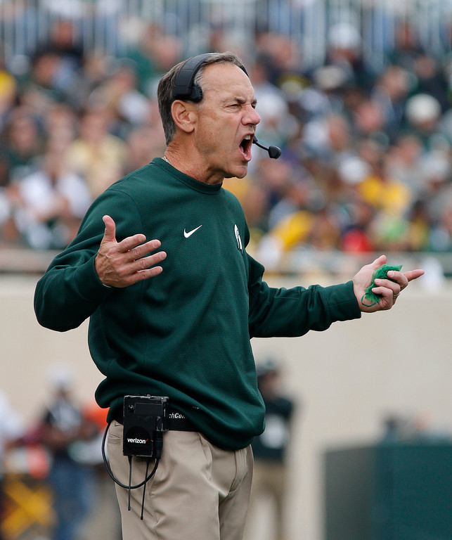 . Michigan State coach Mark Dantonio yells during the fourth quarter of an NCAA college football game against Michigan, Saturday, Oct. 29, 2016, in East Lansing, Mich. Michigan won 32-23. (AP Photo/Al Goldis)