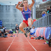 MaryLou Ryder competing in long jump. SUN/Caley McGuane