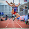 UMass Lowell's Michelle Jaquint during long jump. SUN/Caley McGuane