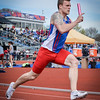 UMass Lowell's Ian Peuser competing in 4x100 Relay. SUN/Caley McGuane