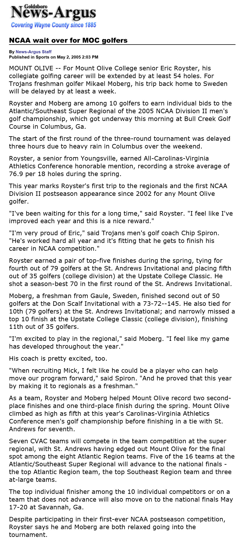 Goldsboro News-Argus | Sports: NCAA wait over for MOC golfers