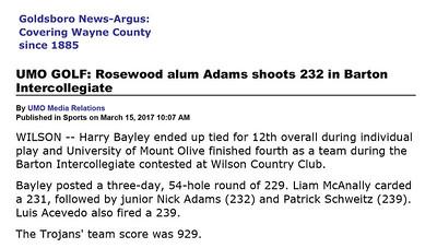 Goldsboro News-Argus | Sports: UMO GOLF: Rosewood alum Adams shoots 232 in Barton Intercollegiate
