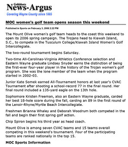 Goldsboro News-Argus | Sports: MOC women's golf team opens season this weekend