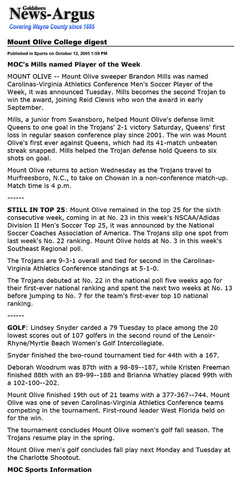 Goldsboro News-Argus | Sports: Mount Olive College digest