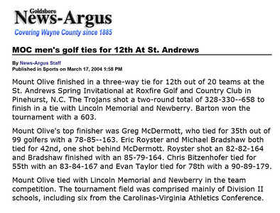 Goldsboro News-Argus | Sports: MOC men's golf ties for 12th At St. Andrews