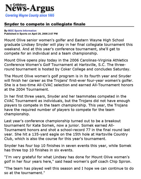 Goldsboro News-Argus | Sports: Snyder to compete in collegiate finale