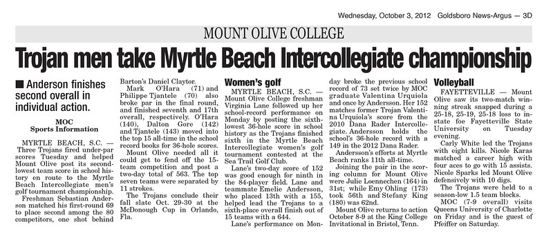 Myrtle Beach Intercollegiate October 2012