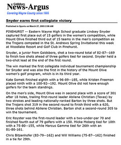 Goldsboro News-Argus | Sports: Snyder earns first collegiate victory