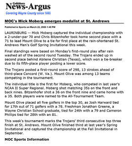 Goldsboro News-Argus | Sports: MOC's Mick Moberg emerges medalist at St. Andrews