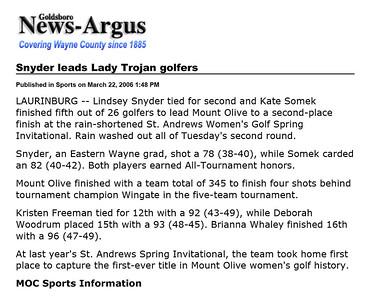 Goldsboro News-Argus | Sports: Snyder leads Lady Trojan golfers