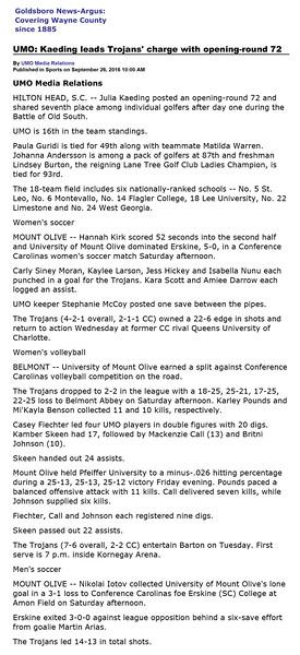 Goldsboro News-Argus | Sports: UMO: Kaeding leads Trojans' charge with opening-round 72
