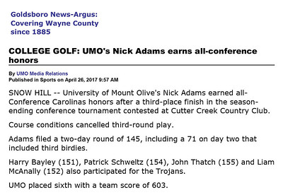 Goldsboro News-Argus | Sports: COLLEGE GOLF: UMO's Nick Adams earns all-conference honors