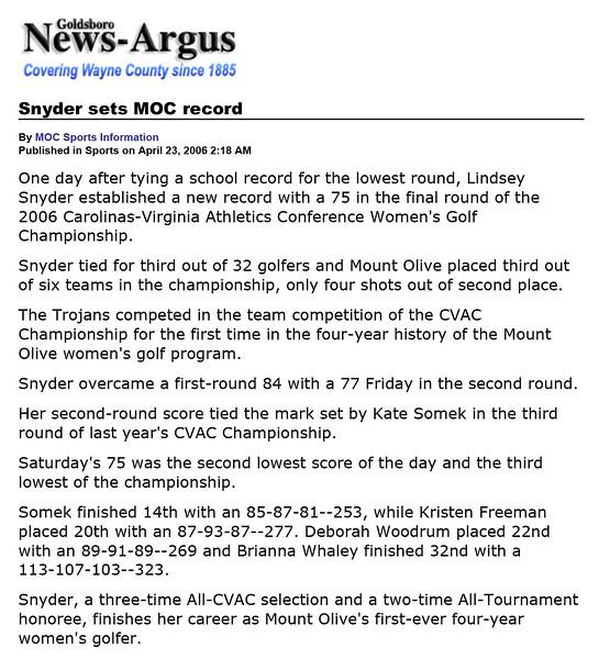 Goldsboro News-Argus | Sports: Snyder sets MOC record