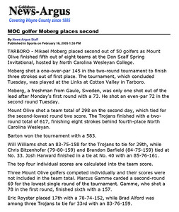 Goldsboro News-Argus | Sports: MOC golfer Moberg places second