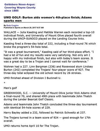 Goldsboro News-Argus | Sports: UMO GOLF: Burton aids women's 4th-place finish; Adams sparks men