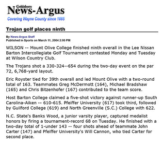 Goldsboro News-Argus | Sports: Trojan golf places ninth