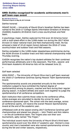 Goldsboro News-Argus | Sports: UMO: Dahlke recognized for academic achievement; men's golf team cops award