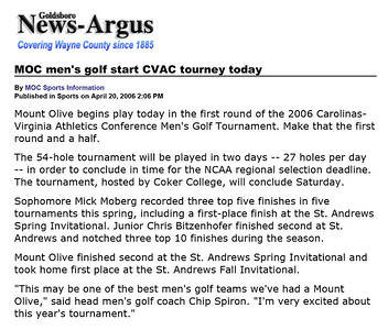 Goldsboro News-Argus | Sports: MOC men's golf start CVAC tourney today