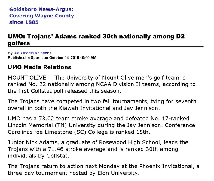 Goldsboro News-Argus | Sports: UMO: Trojans' Adams ranked 30th nationally among D2 golfers