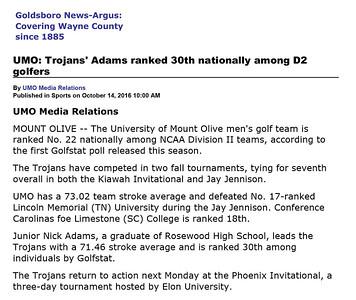 Goldsboro News-Argus | Sports: UMO: Trojans' Adams ranked 30th nationally among D2 golfers