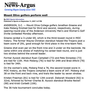 Goldsboro News-Argus | Sports: Mount Olive golfers perform well