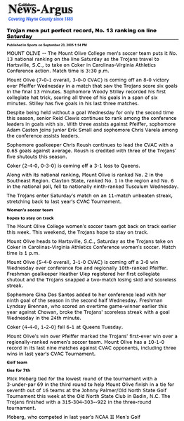 Goldsboro News-Argus | Sports: Trojan men put perfect record, No. 13 ranking on line Saturday