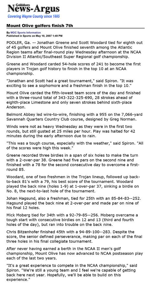 Goldsboro News-Argus | Sports: Mount Olive golfers finish 7th
