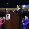 UMass Lowell held it's annual Convocation at the Tsongas Center at UMass Lowell on Wednesday morning to welcome back the new students. Student government President James Christopher talks to his fellow students at the convocation. SUN/JOHN LOVE