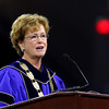 UMass Lowell held it's annual Convocation at the Tsongas Center at UMass Lowell on Wednesday morning to welcome back the new students. Second year Chancellor Dr. Jacqueline Moloney addresses the students at the convocation. SUN/JOHN LOVE