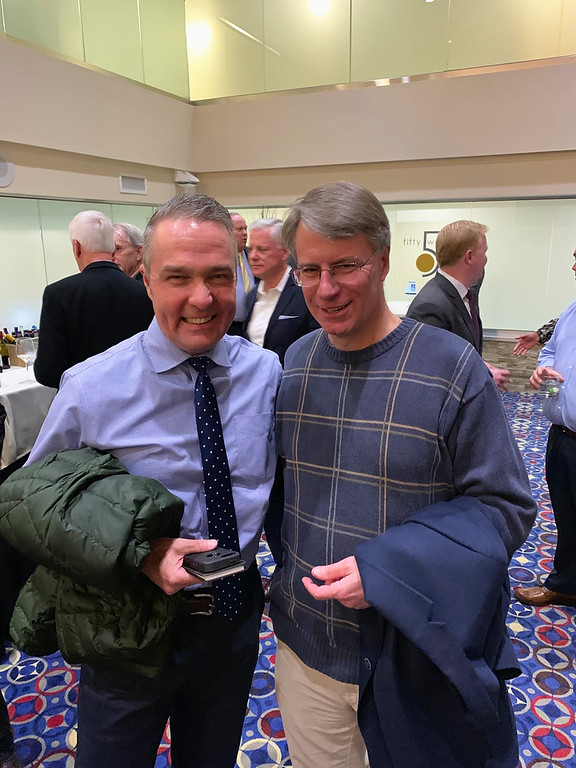 . Longtime Sun journalists Chris Scott of Merrimac and Kris Pisarik of Chelmsford were on hand to bid Campi farewell. (Why do they look so happy?)