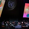 "The 2018 UN Day Concert on Wednesday, 24 October 2018 in the General Assembly Hall at United Nations Headquarters in New York. Sarod virtuoso Ustad Amjad Ali Khan, who  accompanied by his sons Amaan Ali Bangash and Ayaan Ali Bangash, and the Refugee Orchestra Project conducted by Lidiya Yankovskaya.<br /> <br /> The theme of this year's concert, which is sponsored by the Permanent Mission of India to the United Nations, is ""Traditions of Peace and Non-violence""<br /> <br /> <br /> UN Day marks the anniversary of the entry into force in 1945 of the UN Charter. With the ratification of this founding document by the majority of its signatories, including the five permanent members of the Security Council, the United Nations officially came into being.<br /> <br /> 24 October has been celebrated as United Nations Day since 1948. In 1971, the United Nations General Assembly recommended that the day be observed by Member States as a public holiday....pic Mohammed Jaffer-SnapsIndia"