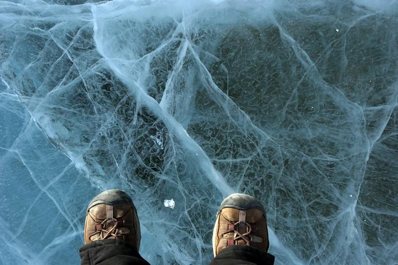 Standing on top of a frozen Lake Hoare, Antarctica.  (Photo/Joe Pettit, UNAVCO)