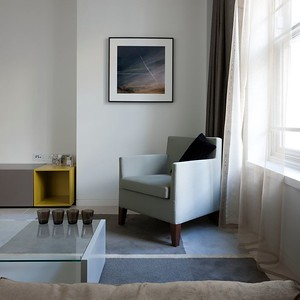 GB. England.London. Sherwood Street, a residential Development by The Crown Estates, managed by Stanhope, of 9 furnished apartments for rental at 14 Sherwood Street, London with Interiors by Johnson Naylor. Living rooms. 2012