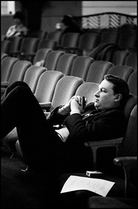 "USA. NYC. 1965. Director Mike Nichols during a rehearsal of ""The Odd Couple"" at the Plymouth Theater."