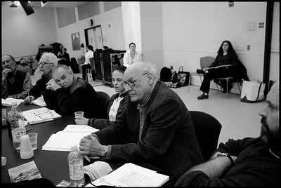 """USA. New York City. Virginia Theatre. 2002.  Playwright Arthur MILLER and cast members, during a rehearsal of the Miller play """"The Crucible""""  directed by Richard Eyre. Miller's most produced play has been performed numerous times since it first opened on January 22, 1953."""