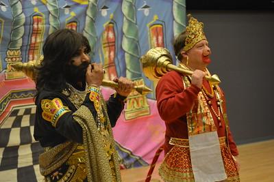 Afroz Taj, associate professor in the UNC Department of Asian Studies, appeared as the demon king Rava (left). John Caldwell, a lecturer in Hindi-Urdu, played Hanuman (right).
