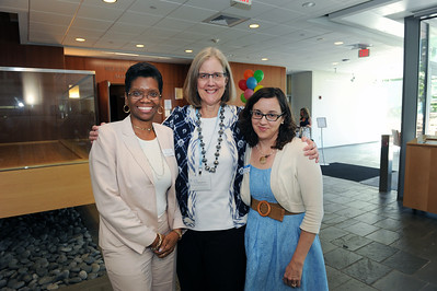 Katie Bowler Young, director of Global Relations, Elizabeth Barnum, director of International Student and Scholar Services, and Adrienne Cromwell, director of Advising and International Student Programs, pose for a photo at the 2016 International Welcome Social.   Photo by Donn Young