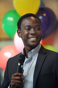 Bradley Opere '17, student body president, shares his experiences as an international student.   Photo by Donn Young