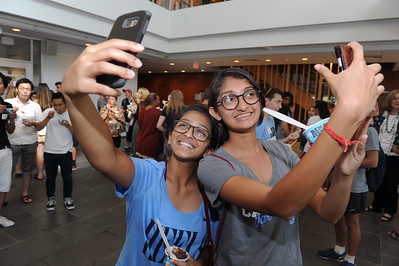 Selfies at the Social — students pose for their own photo at the 2016 International Welcome Social.   Photo by Donn Young