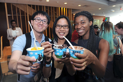 International students and EASE mentors enjoy ice cream. UNC EASE is a student-lead organization to help ease the transition for international students.   Photo by Donn Young