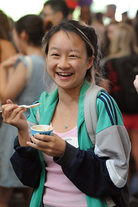 It's hard not to smile when there's unlimited ice cream at the UNC Global 2016 International Welcome Social.  Photo by Donn Young