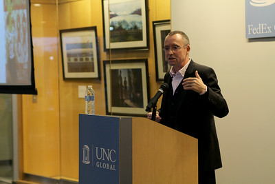 """Ian Holliday, vice-president and pro-vice-chancellor for teaching and learning at the University of Hong Kong,  presents a lecture, """"Myanmar in a Time of Transition"""" in the Florence and James Peacock Atrium of the FedEx Global Education Center.   Photo by Molly Irwin"""