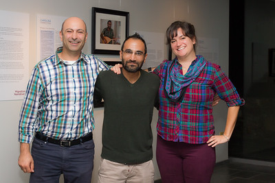 Katy Clune '15 M.A. (right), Carolina Connections project researcher, joins Zubair '18 (center) and Bahij '17 (left) for a photo after the panel discussion.